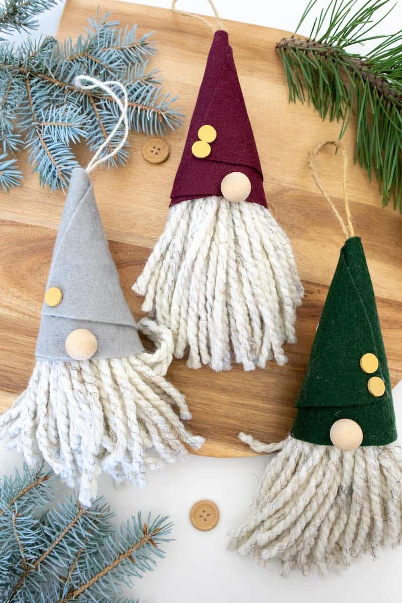 Easy DIY Gnome Ornament Craft with Christmas Tree Branches