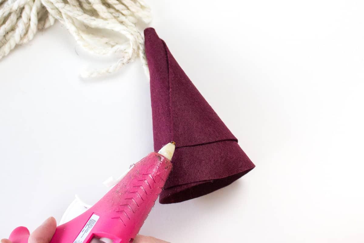 Hot Glueing Felt Gnome Hat DIY