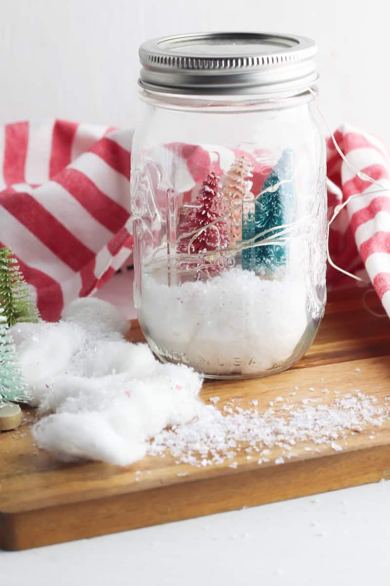Mason Jar Lanterns with Christmas Trees