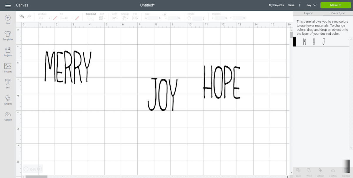 Merry Joy Hope Letters in Cricut Design Space