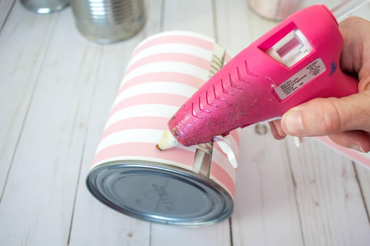 Pink Hot Glue Gun on Tin Can Organizer Craft