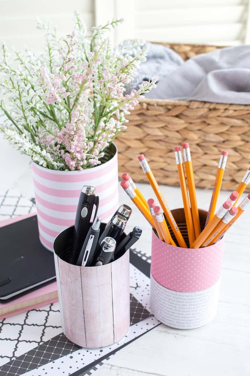 DIY Tin Can Organizers Desk Ideas