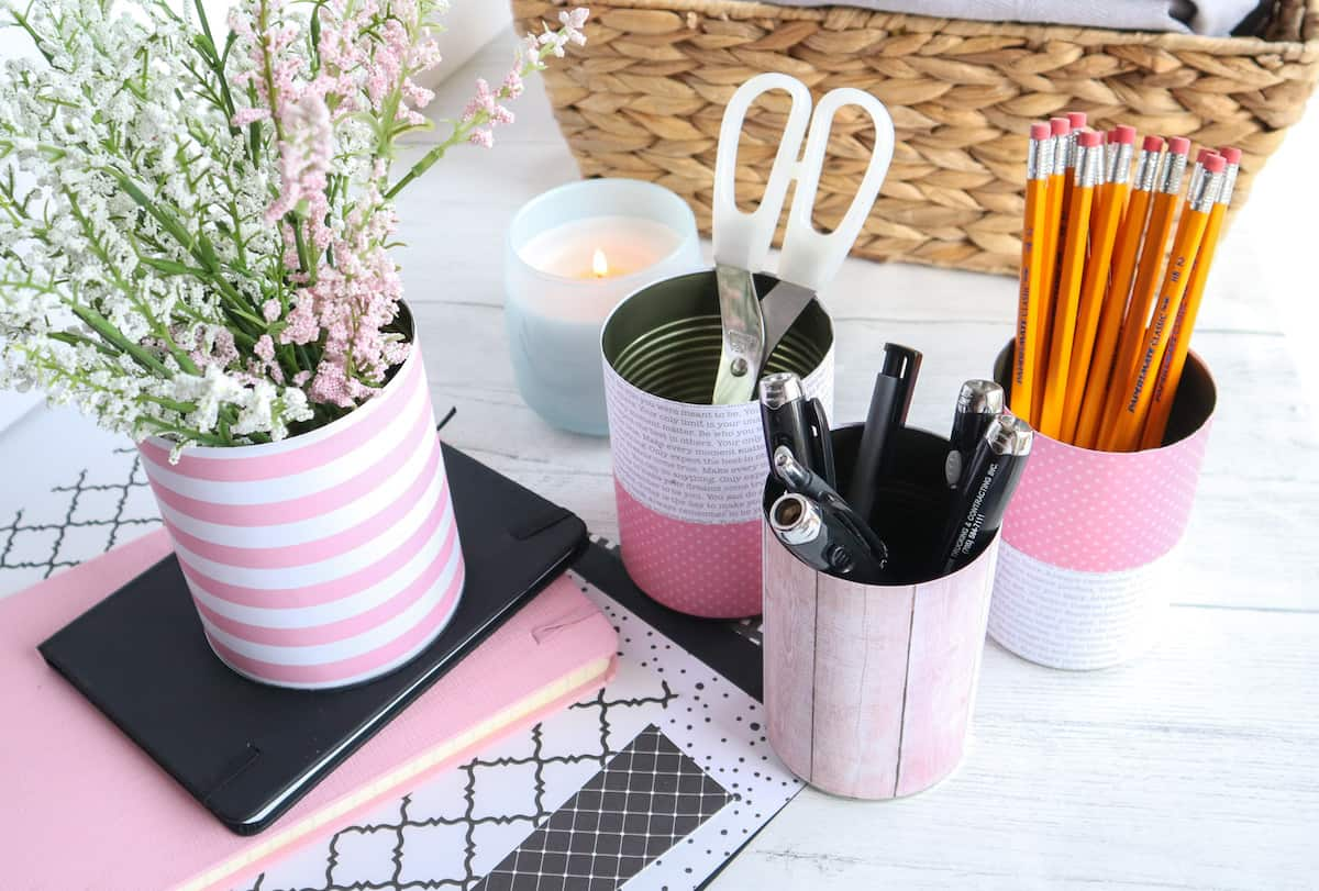 Tin Can Organizers for Desk