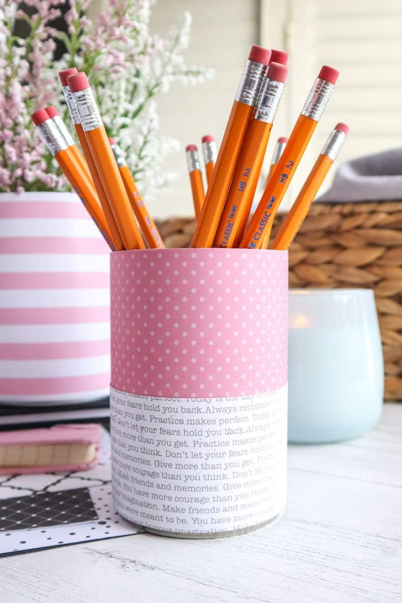Homemade Tin Can Organizer for Desk