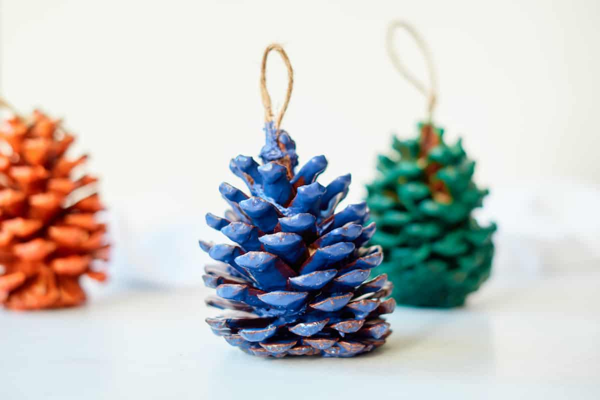 blue green and red wax covered pine cones