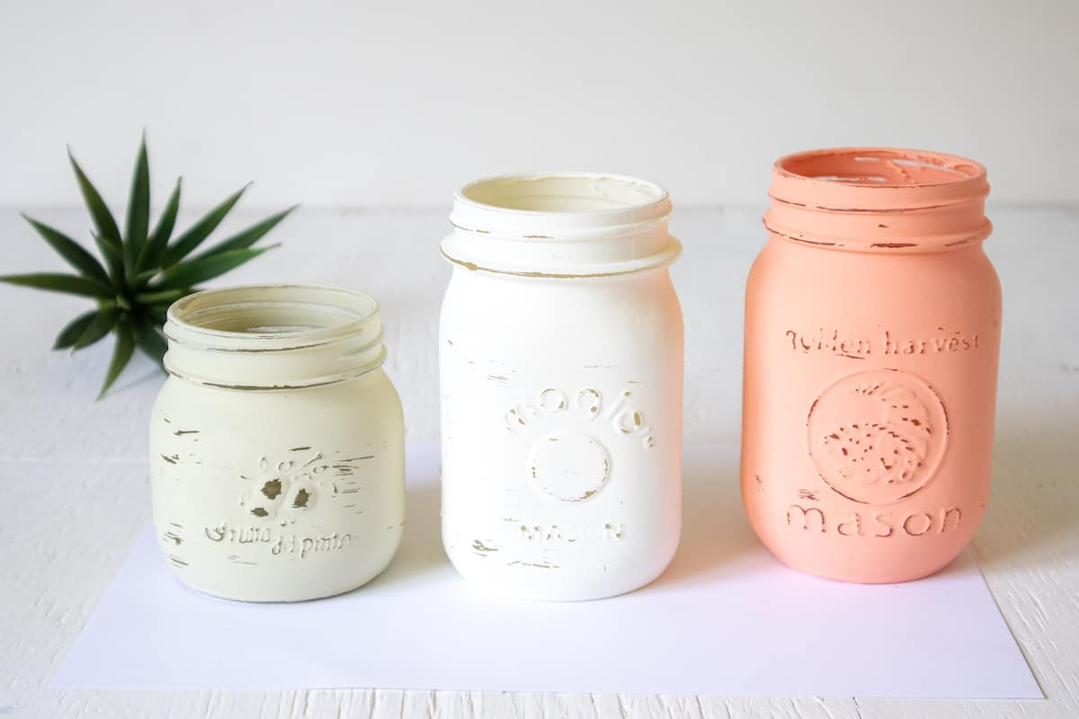 distressed chalky painted mason jars