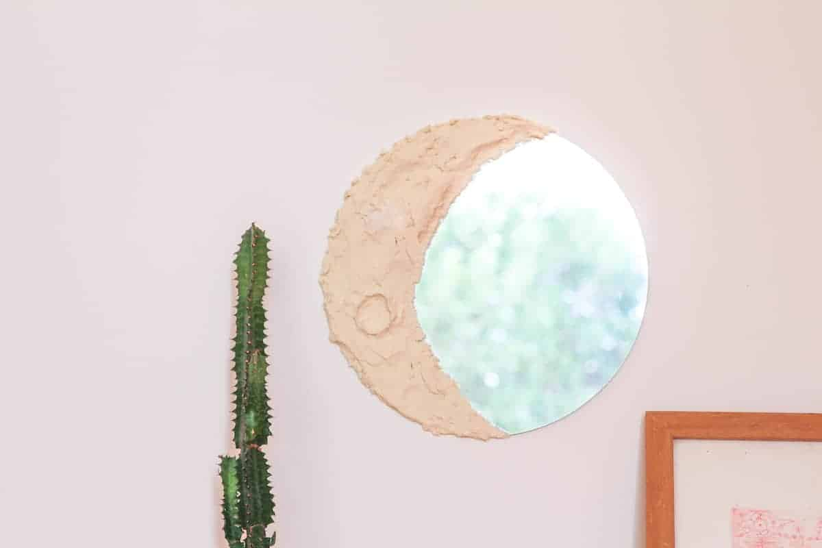 DIY Moon Mirror on a pink wall