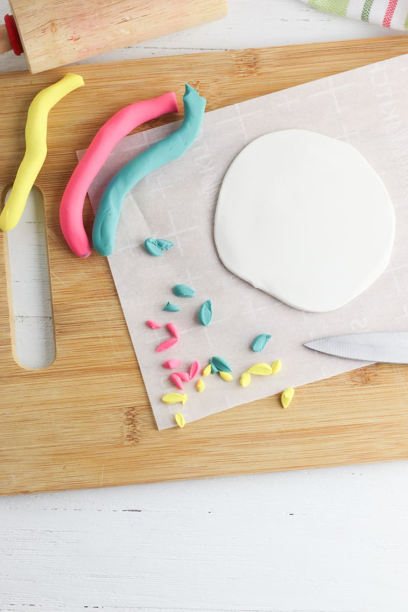 Yellow, Pink, Green and White Clay for Coaster DIY