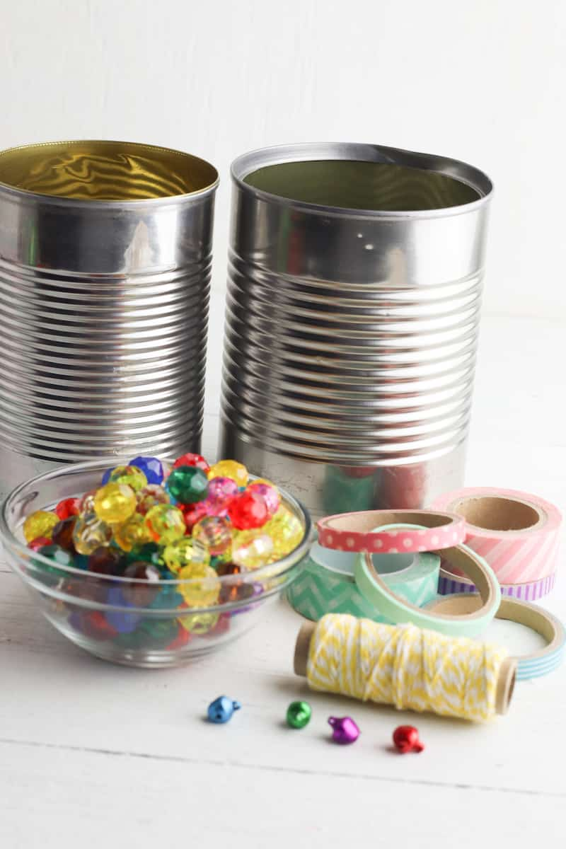 Craft supplies for tin can wind chimes