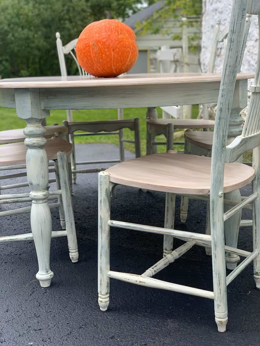 repainted kitchen table chair on patio