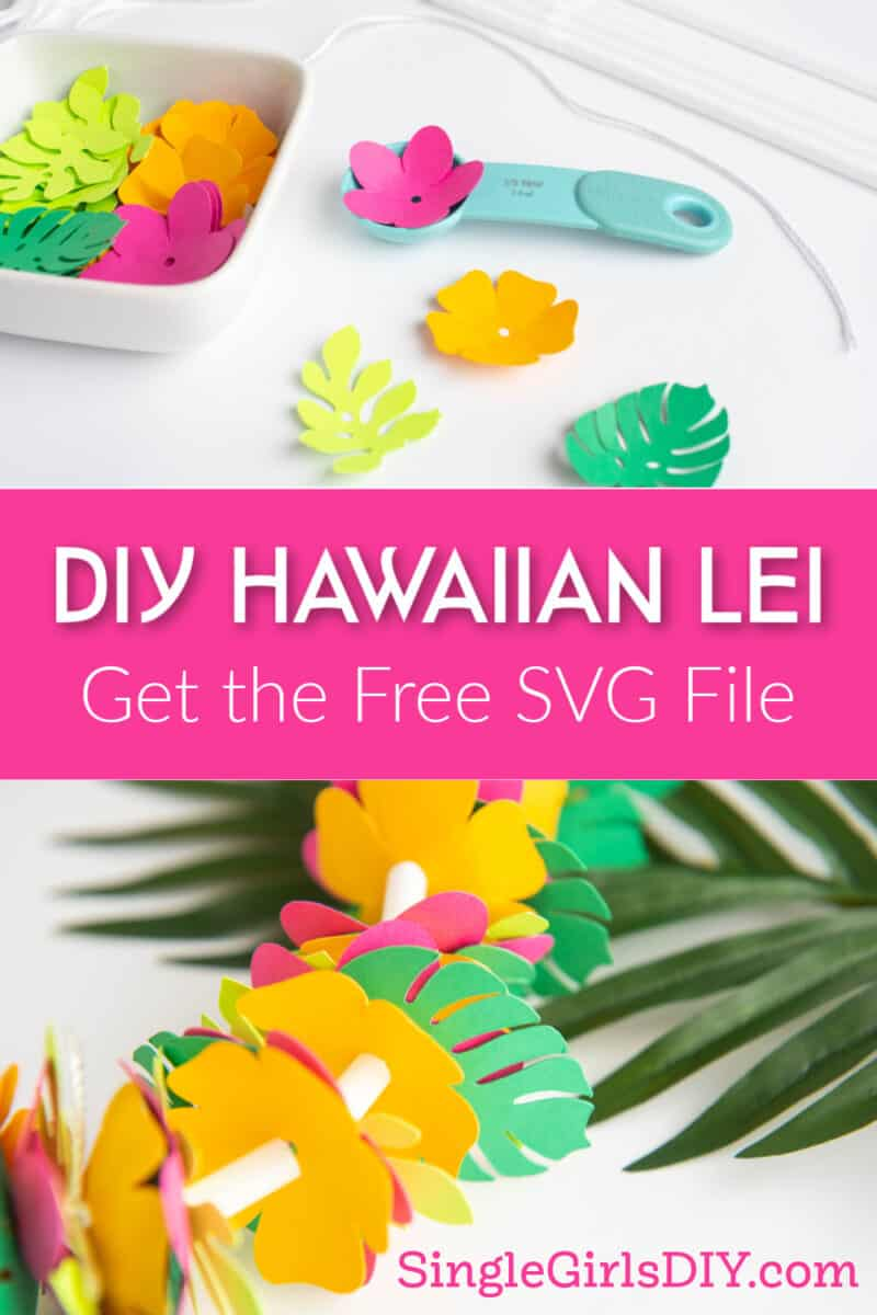 cut paper flowers to make a Hawaiian lei