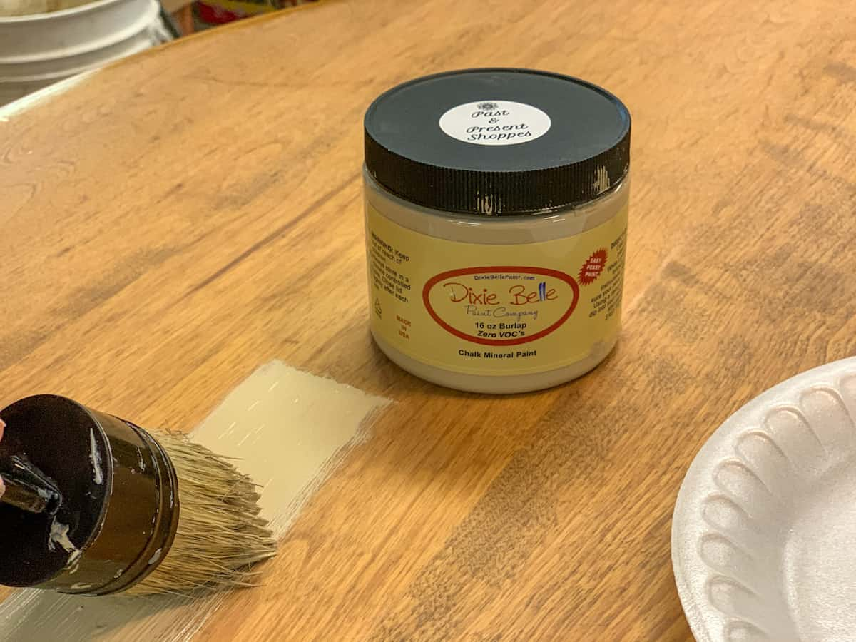 Dixie Belle Paint Company Burlap swatch on table