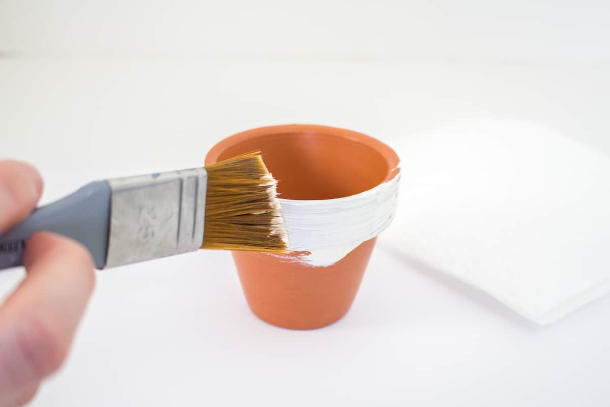 Painting terracotta pot with chalky white