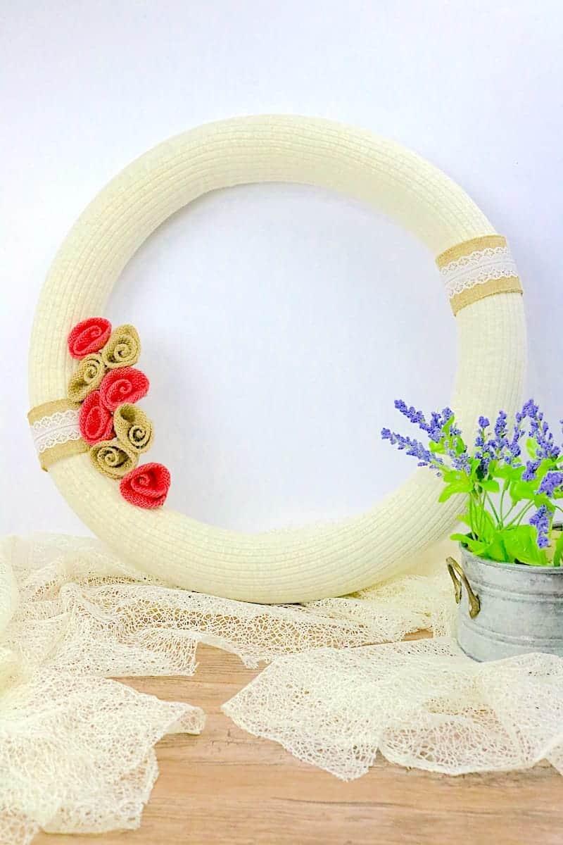 DIY Pool Noodle Wreath Final on Wood Table