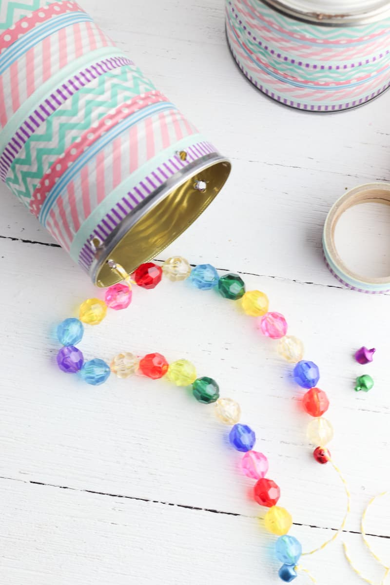 colorful bead strung on tin can