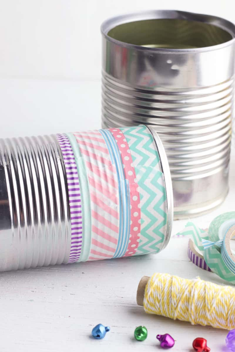 tin cans with washi tape