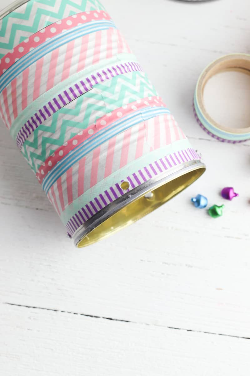washi tape wrapped around tin can