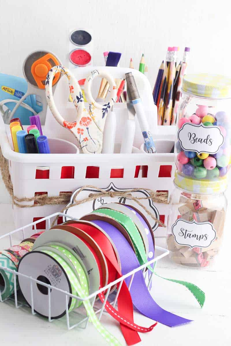 Craft Organization with colorful ribbon and supplies