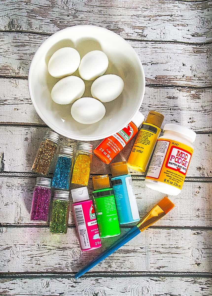 DIY Glitter Easter Eggs supplies
