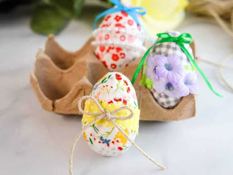 Decoupage Easter Eggs in cluster on white background