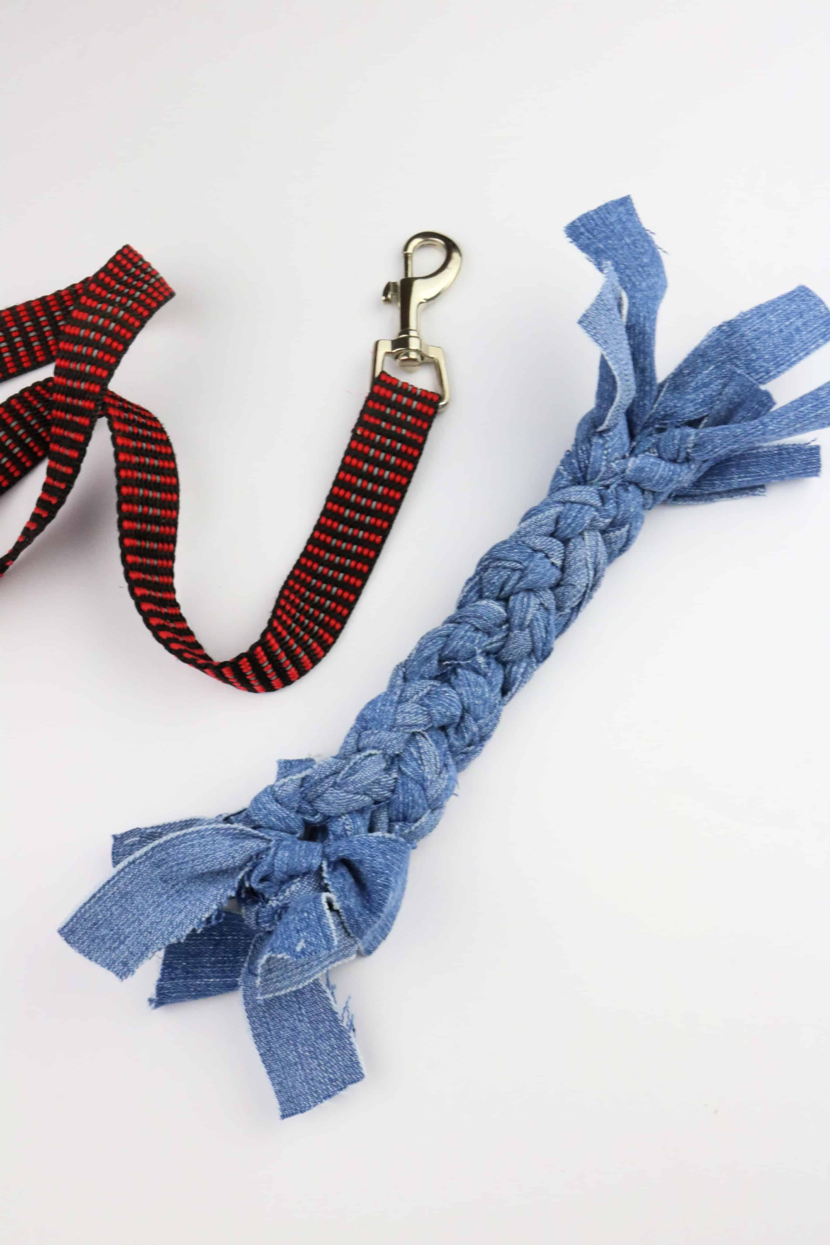 handmade Denim Dog Toy with leash on white background