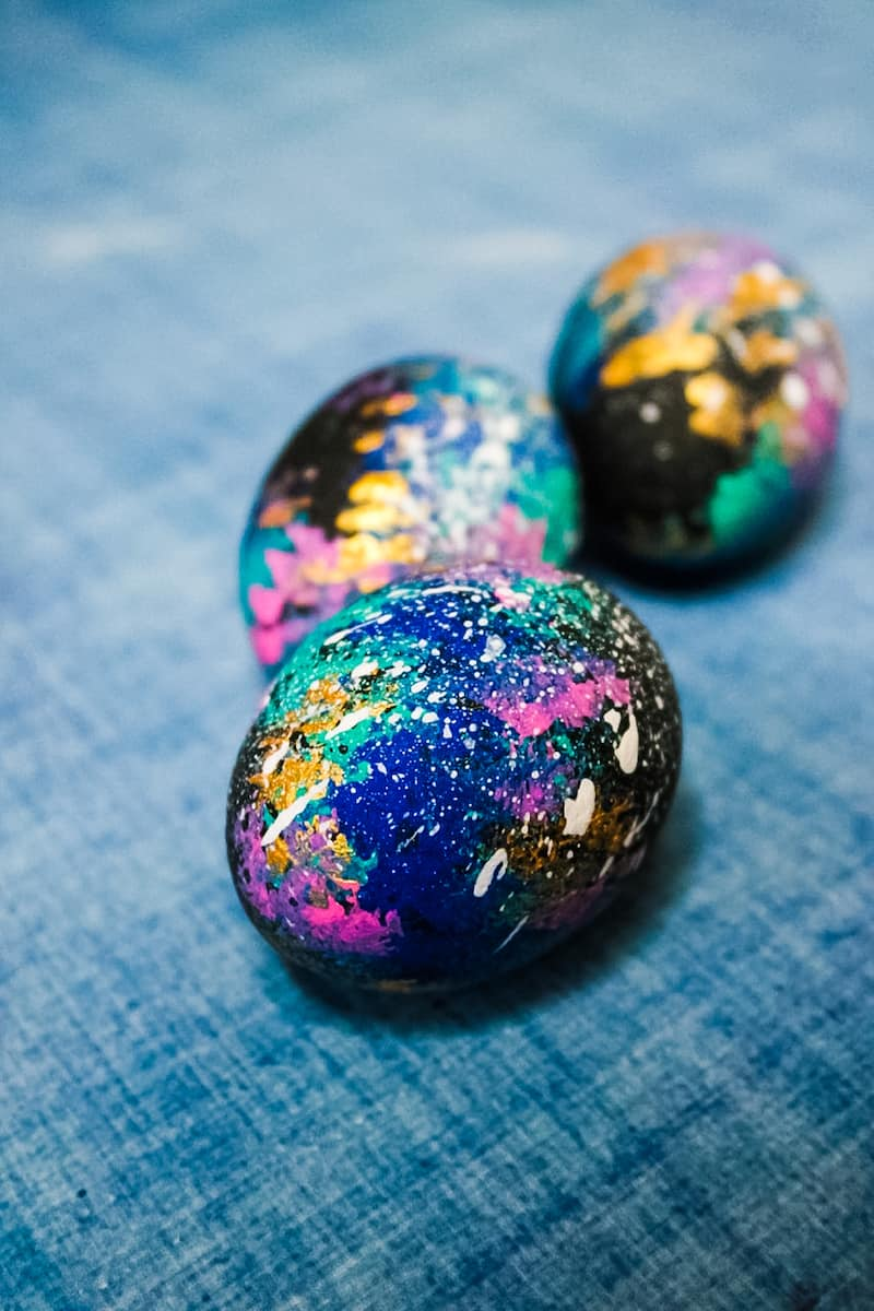 Galaxy Easter Egg clustered on blue background