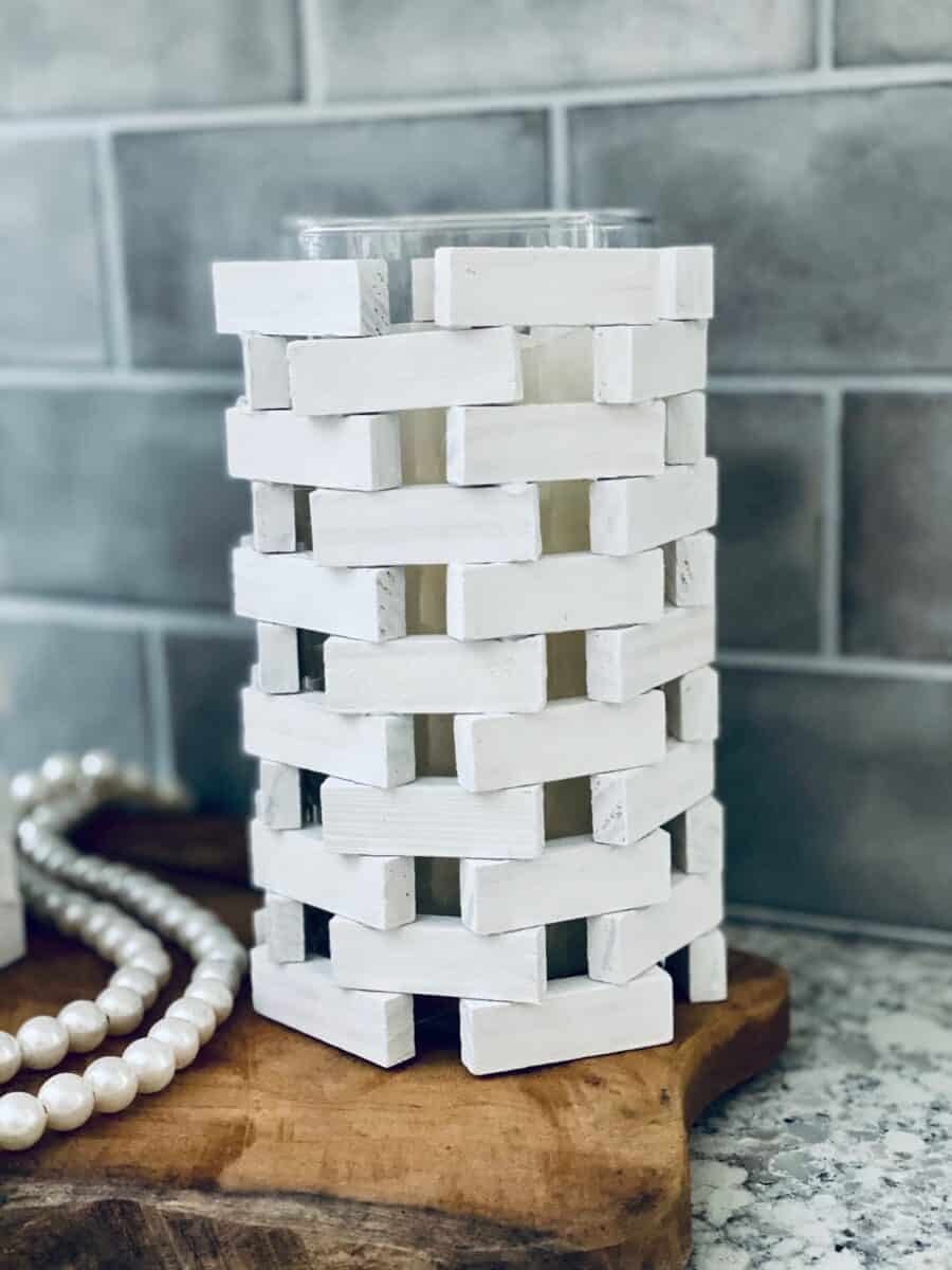 tumbling towers wood game pieces blocks DIY candle holder