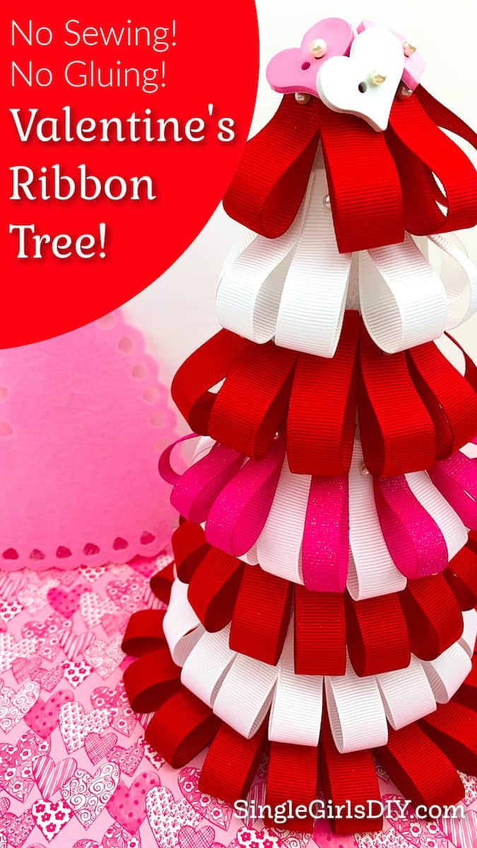 red white and pink ribbon loop tree for Valentines Day