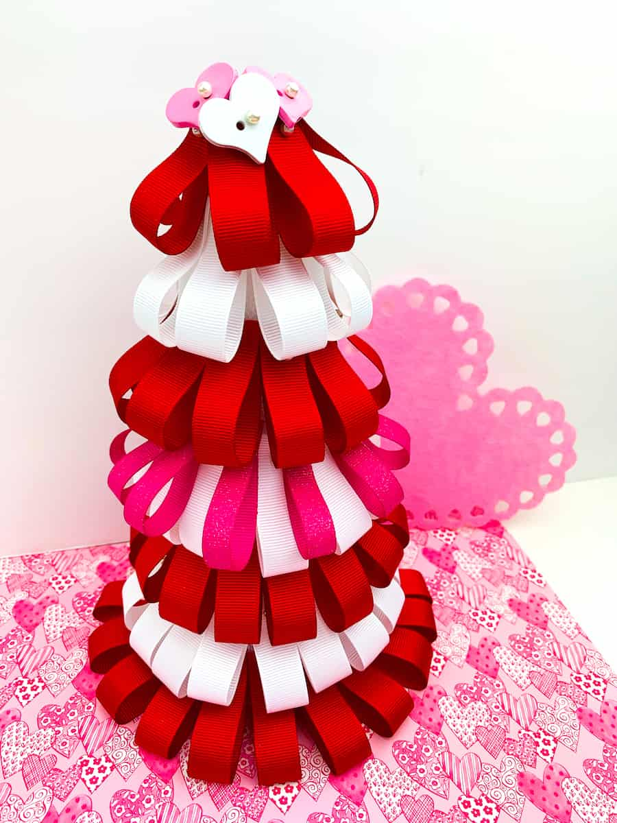 Valentines Day Ribbon Loop Tree with pink paper heart