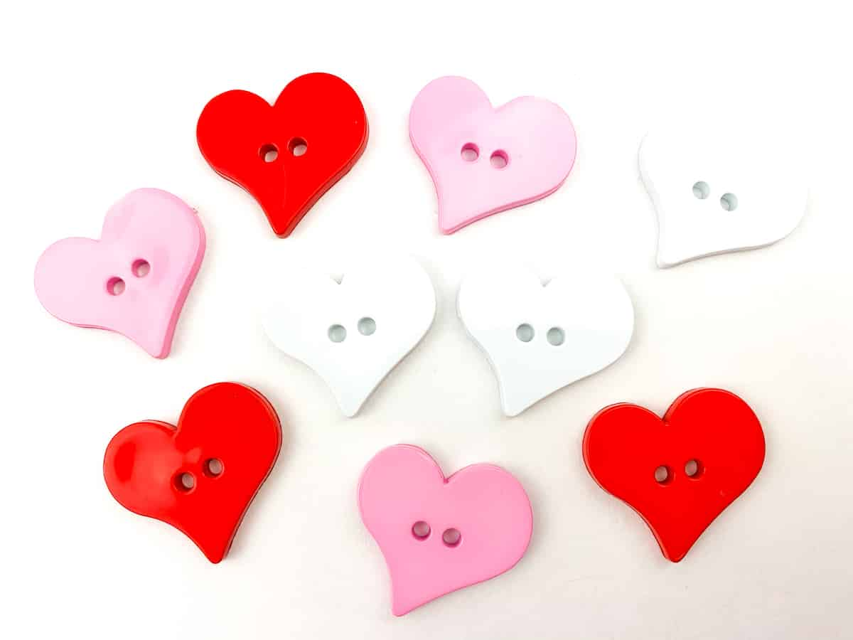 Valentines Day heart buttons