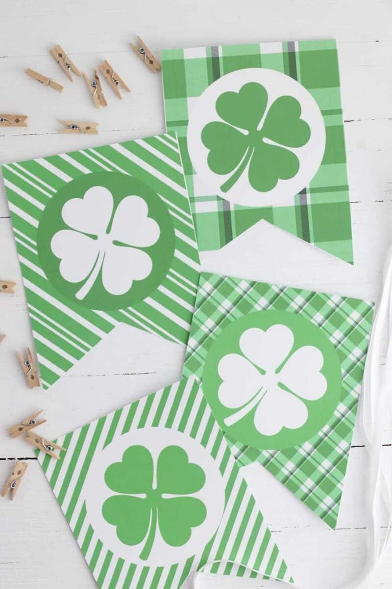 Printable St Patricks Day Banner on white wood