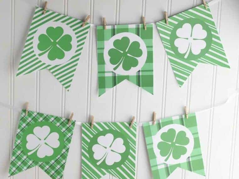 Printable St Patricks Day Banner on white wall