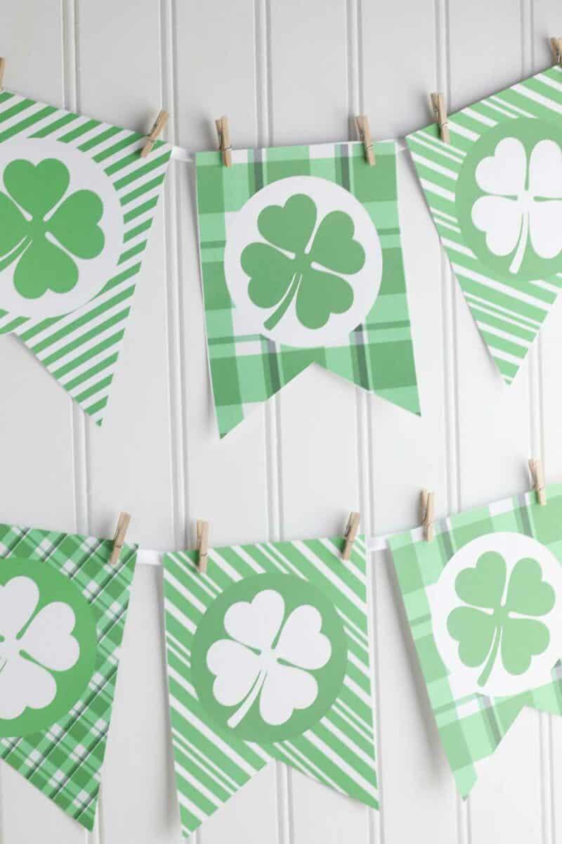 Printable St Patricks Day Banner on white wall