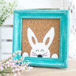 Stenciled Easter Bunny Art on table with flowers