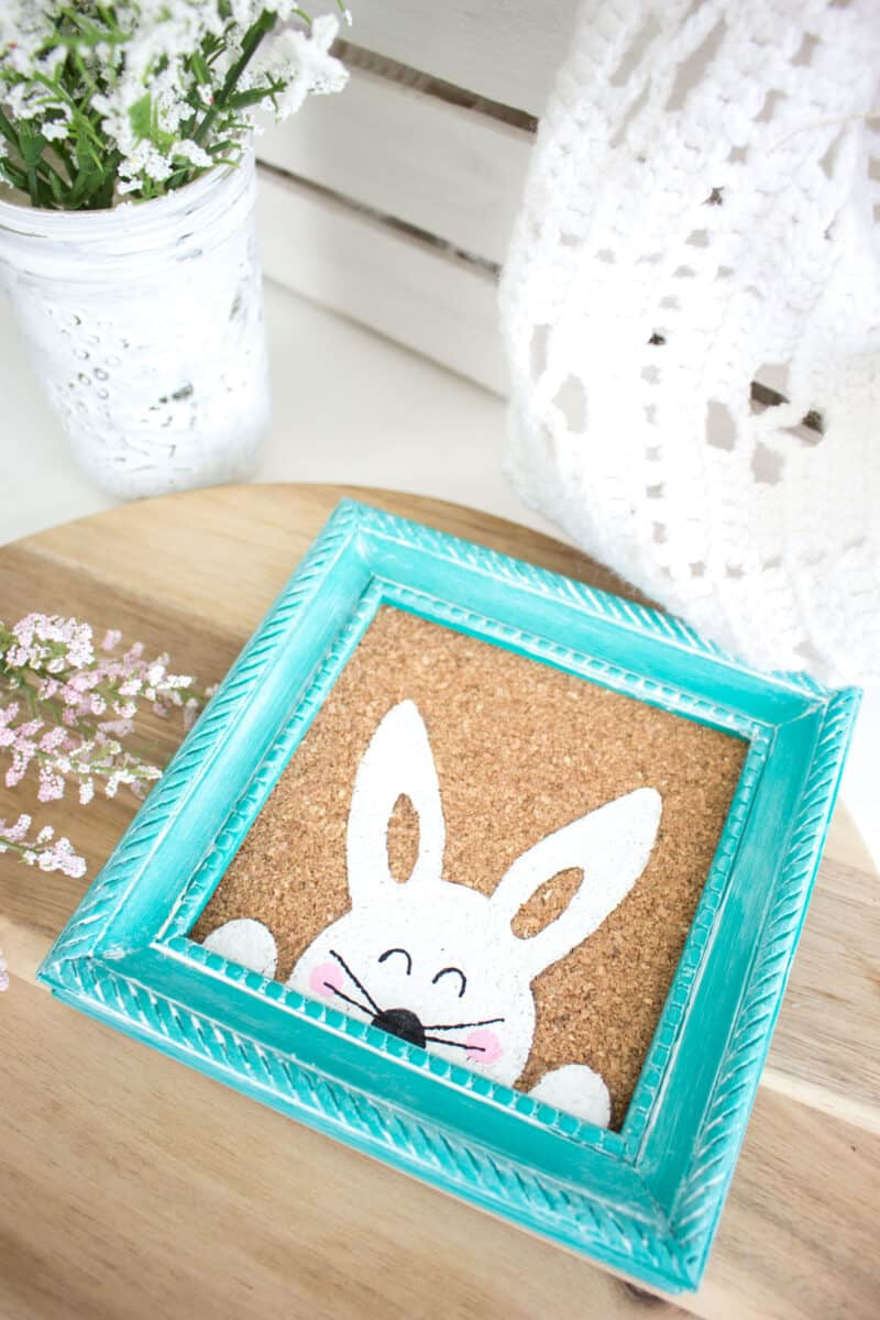 Stenciled Easter Bunny Art on tabletop