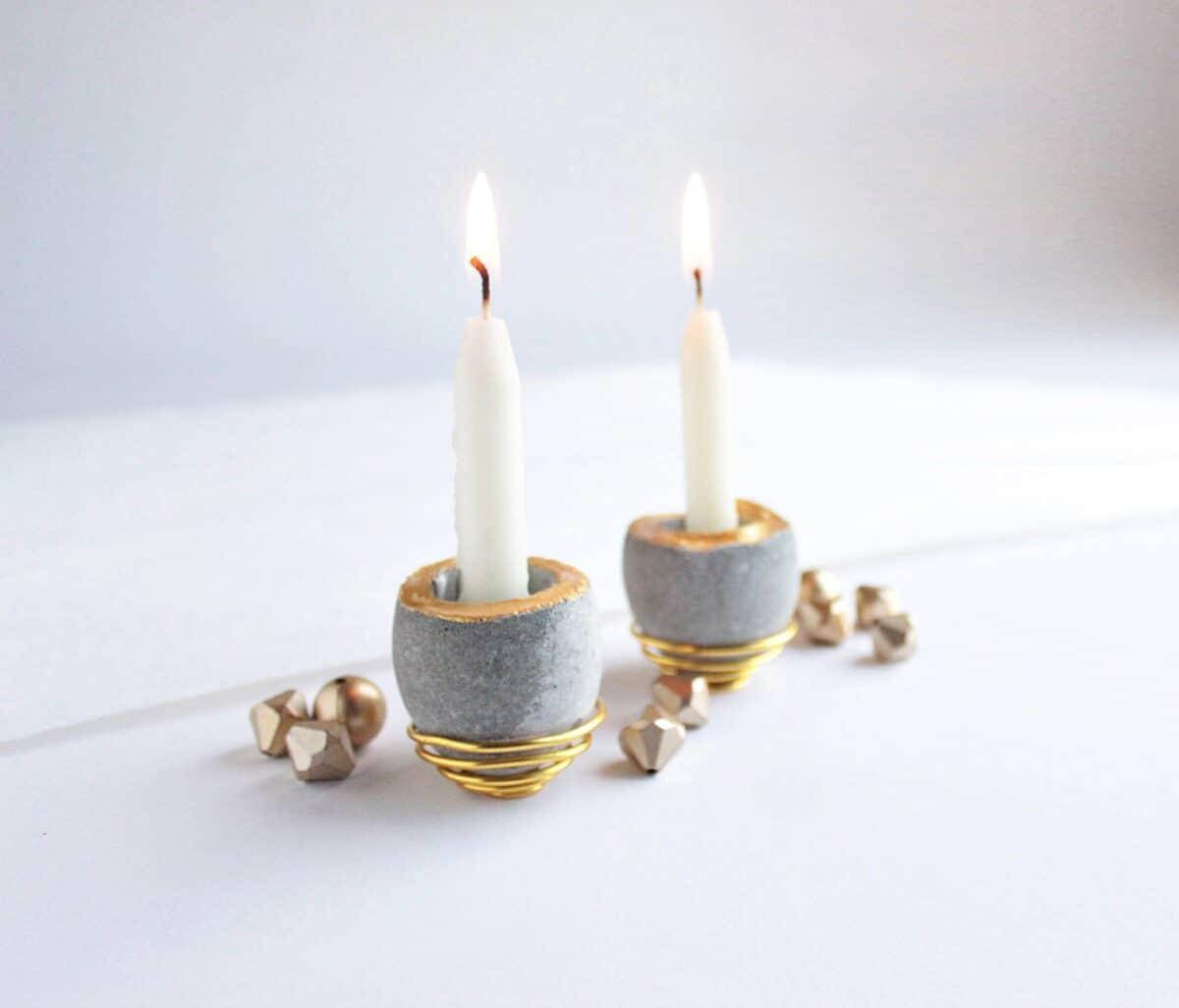 miniature egg shaped concrete candleholders