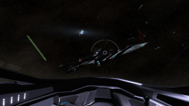 An attack run on an enemy cruiser.