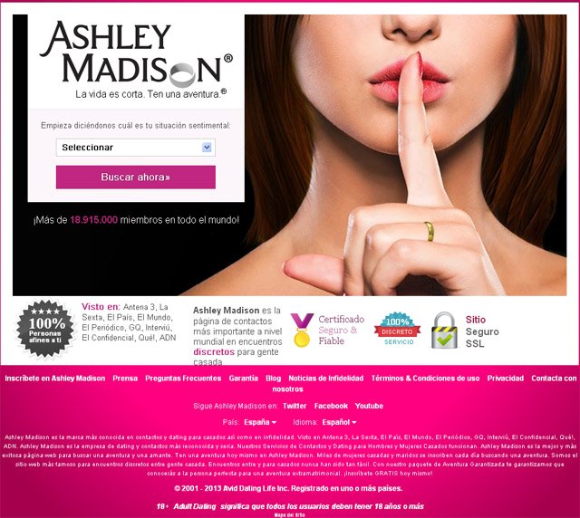 Ashley Madison, top páginas curiosas para encontrar pareja
