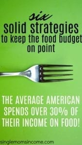 Don't let food wreck your budget. Here are six strategies to keep the food budget in check.