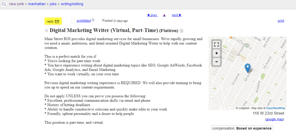 Finding freelance jobs on Craigslist.