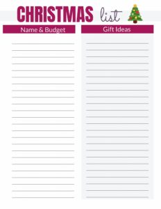Free Christmas Budget List