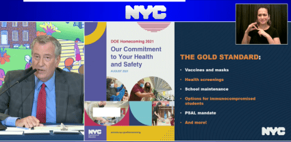 NYC Mayor with DOE COVID Guide for School Reopening 2021