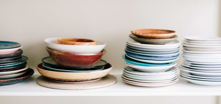 Piles of dirty dishes