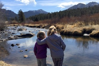 Girls by the river in Estes Park