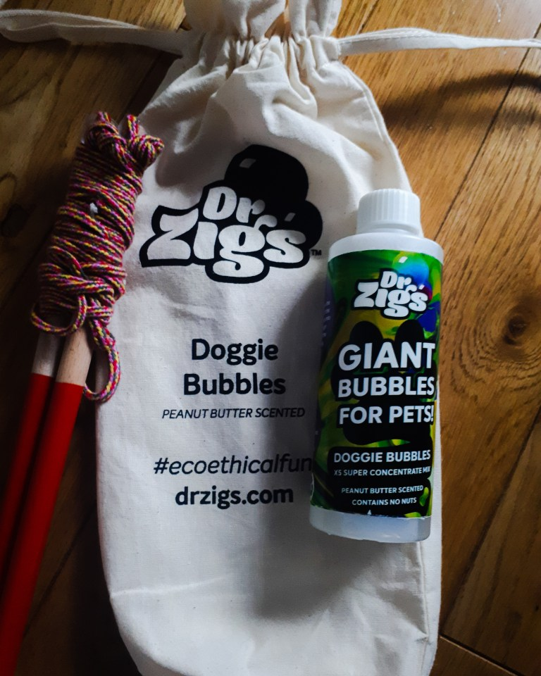 The Dr Zigs drawstring bag with the bubble mix and wands on top.