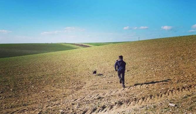 Boy and dog running across a field.