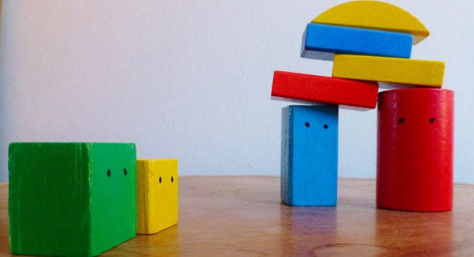 kids building blocks stacked up.