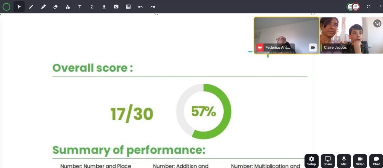 Screenshot of a virtual classroom whiteboard with maths scores on it.