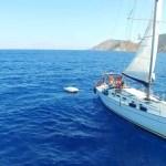 Prachtig shot van onze boot in Griekenland