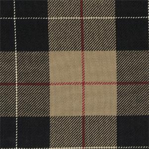 D 3049 Hempstead Night Black Tan Plaid Cotton Upholstery